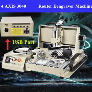 Usb 3040 Cnc 4 Axis Router Engraver Woodworking 3d Carving Milling Machine rc