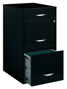 Space Solutions Deep 3 Drawer Metal File Cabinet With Pencil Drawer Black New