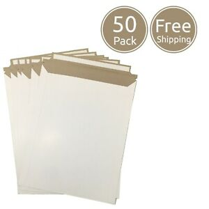 50 Pack 9 X 12 Inches Photo Document White Rigid Cardboard Mailer Envelopes