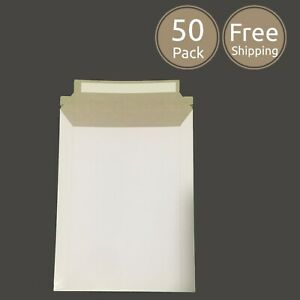 50 Pack 6 X 8 Inches Photo Document White Rigid Cardboard Mailer Envelopes