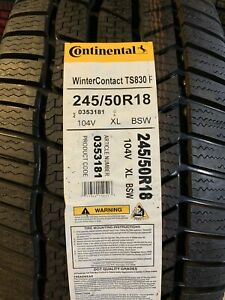 1 New 245 50 18 Continental Winter Contact Ts830p Snow Tire