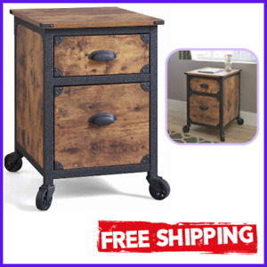 2 Drawer File Cabinet With Metal Runners And Safety Stops Rustic Country