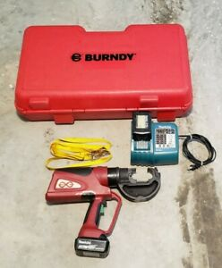 Burndy Pat750li Hydraulic Crimping Tool Handheld Battery 12 Ton With Case Charge