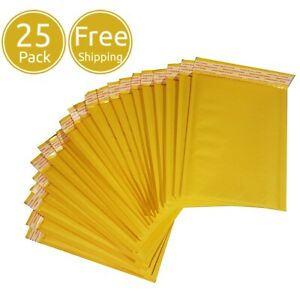 25 Pack 5 X 7 Inches Yellow Kraft Paper Bubble Shipping Mailing Mailer Envelopes