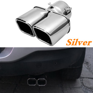 Car Rear Dual Exhaust Tip Pipe Tail Muffler Square Parts Stainless Steel Chrome Fits Jaguar Xjs