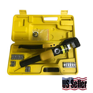 Hydraulic Wire Crimper W 10 Ton 9 Dies Battery Cable Lug Terminal Crimping Tool
