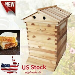Mobile Beekeeping Brood House Box Kit For 7 Auto Honey Bee Hive Honey Frames New