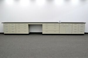 Used 19 Laboratory Metal Cabinet W Counter Tops Bench Area E1 020