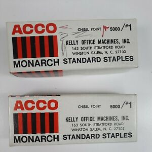 Vintage Acco Monarch Standard Staples 1 Chisel Point Lot Of 2 Boxes 80 Full