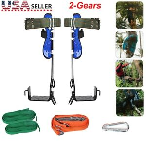 Safety Tree Climbing Spike Set Tool Adjustable Lanyard Rope Rescue Belt 2 Gears