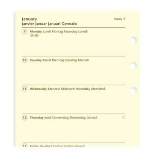2022 Filofax Personal Week On One Page Cream 5 Lang Diary calendar 68439