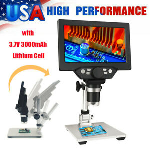 1 1200x G1200 Digital Microscope 7 Inch Hd Lcd 12mp Magnifier With Battery X3x7