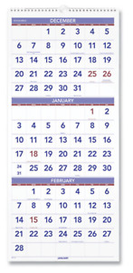 2022 At A Glance Pm1128 3 month View Wall Calendar 12 X 27 January To December