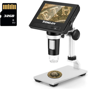 Tomlov 4 3 Lcd Digital Microscope 50x 1000x With Sd Card Handheld Coin Microsc