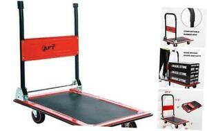 Push Platform Truck Dolly Folding Rolling Flatbed Cart 360 Swivel 330 Lbs Red