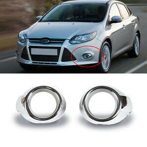 Fits 2012 14 Ford Focus Front Bumper Fog Light Chrome Cover Bezels Housing Pair Fits 2012 Ford Focus