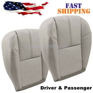 Driver Passenger Bottom Leather Seat Cover Fits 2007 2014 Chevy Silverado Gray