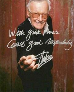 REPRINT STAN LEE With Great Power Comes Great Signed Responsibility 8x10 Photo $9.99