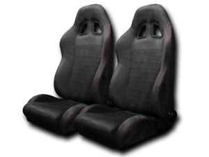 Defective Universal 2x Sp Suede Red Stitch Reclinable Racing Bucket Seats Blk