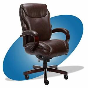Hyland Executive Office Chair With Air Brown With Mahogany Wood Finish