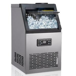 Commercial Ice Maker Stainless Steel Built in Ice Cube Machine Undercounter 80kg