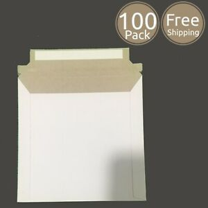 100 Pack 6 X 6 Inches Photo Document White Rigid Cardboard Mailers Envelopes