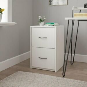 2 drawer Wooden File Cabinet Lockable Home Office Furniture White Finish