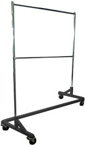 Commercial Double Bar Rolling Z Rack With Nesting Black Base 400lb Capacity 63
