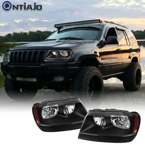 For 1999 2004 Jeep Grand Cherokee Wj Black Housing Headlight Assembly Sets 99 04