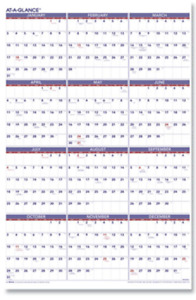At A Glance Pm12 28 1228 Yearly Wipe Off Dry Erase 2022 Wall Calendar 24 X 36