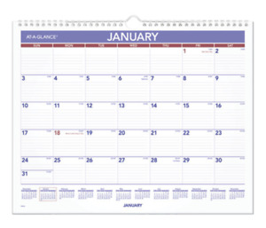 2022 At A Glance Pm828 Monthly Wall Calendar Ruled Daily Blocks 15 X 12