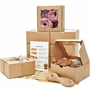 Premium 6x6x3 Inches Cookie Boxes With Window 50 Pack Extra Thick Oil Resi