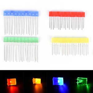 100pcs Rectangular Square Led Emitting Diodes Light Bulbs Yellow red blue gyjucr