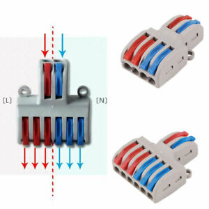 2 In 4 6 Out Terminal Block Reusable Push Lever Electric Wire Cable Connectors