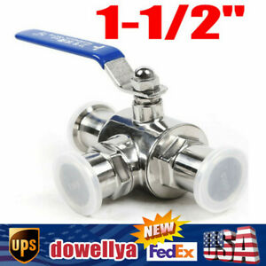1 1 2 Sanitary Stainless 304 3 Way Ball Valve Tri Clamp T Type Connection Usa