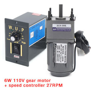 New 6w 110v Gear Motor Electric Variable Speed Controller Reduction Ratio 1 50