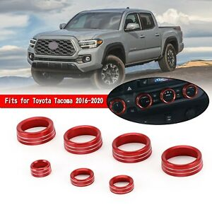 7x Ac Audio Rearview Mirror Adjust Switch Ring Cover For Toyota Tacoma 16 20 Red