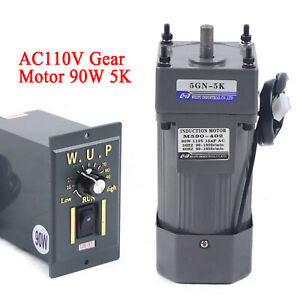 90w 110v Reversible Ac Gear Motor Electric Variable Speed Controller 5k 0 270rpm
