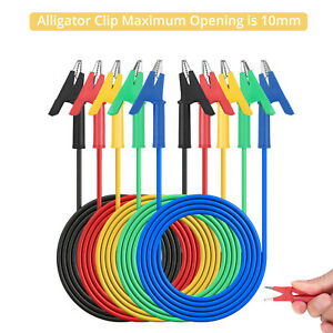 5pcs Dual Ended Crocodile Alligator Clips 15a Test Lead Wire Cable Kit 3 3ft 1m