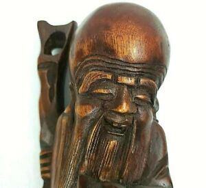 Wood Carved Asian 14 Statue Ornate Figurine Japanese Chinese God Monk Staff