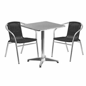 3 pc Aluminum Table Chair Set Blk 23 1 2in Square Table 2 Rattan Chairs