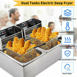 3600w 16l Electric Deep Fryer Dual Tank Commercial Restaurant Stainless Steel Us