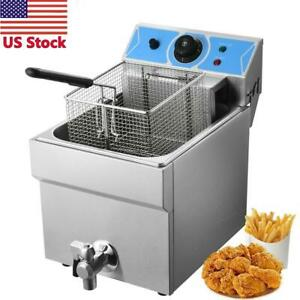 Deep Fryer Tank Electric Stainless Steel 1 Fry Basket Commercial Kitchen Hot