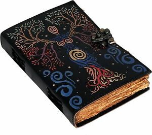 Tree Of Earth Handmade Leather Bound Writing Journal Diary Deckle Lock Notebook