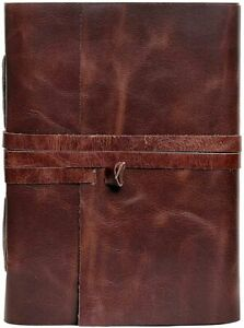 New Handmade Leather Blank Notebook Writing Journal Bound Diary Deckle Lock Book