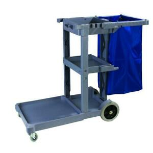 Carlisle Janitorial Cart 19 In W X 39 In H 3 shelf Collection Bag Included