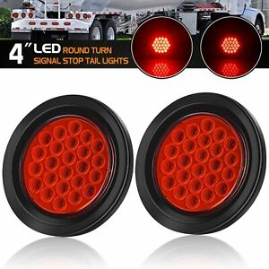 2x 4round Rear Tail Stopturnbrake Red Truck Trailer Led Lights 12v Waterproof