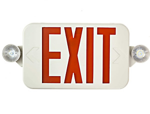 All Led Decorative Red Exit Sign Emergency Light Combo With Battery Backup