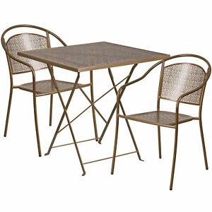 28in Square Metal Folding Patio Table Set With 2 Round Back Chairs Gold