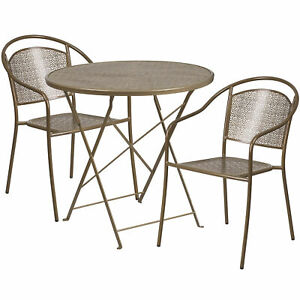 30in Round Metal Folding Patio Table Set With 2 Round Back Chairs Gold
